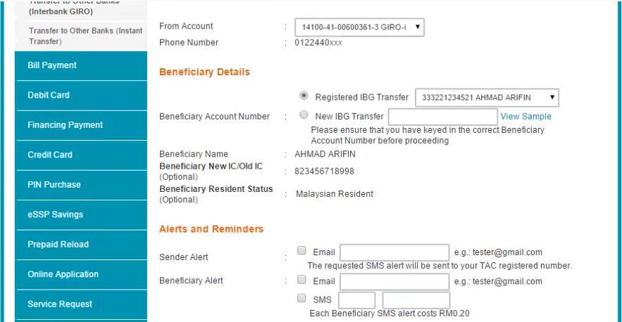 Cara Transfer Duit Dari BSN ke Maybank Online
